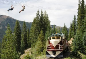 2 male flying over the train